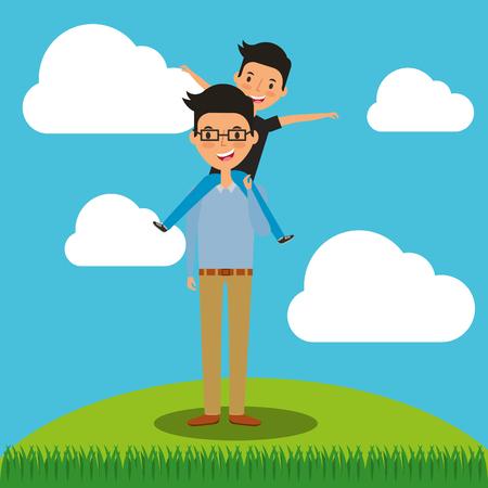 Fête des pères heureux - papa portant son fils sur les épaules dans le champ illustration vectorielle Banque d'images - 97154295