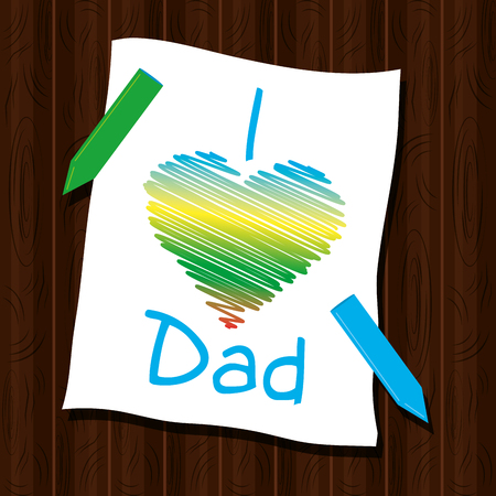 happy fathers day card colored heart paper crayons on wooden background vector illustration