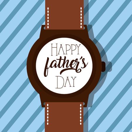 腕時計と幸せな父親の日のレタリングベクトルイラスト