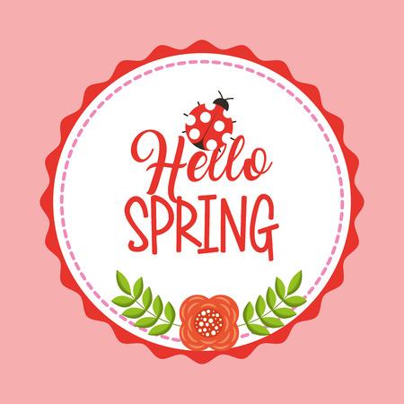 hello spring decorative badge flower and ladybug vector illustration