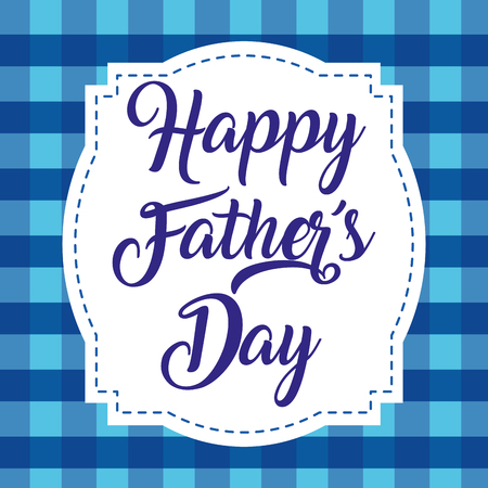 happy fathers day vintage decorative label checkered background vector illustration