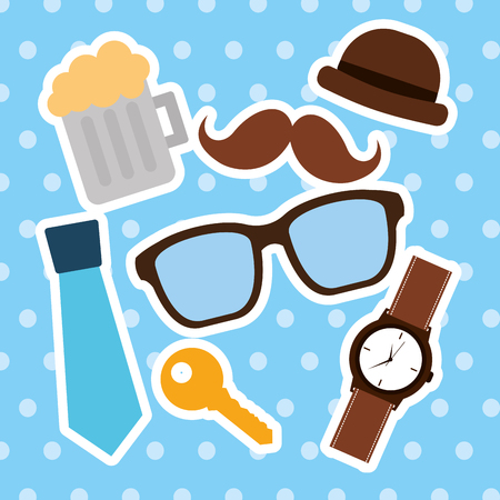 happy fathers day collection mustache tie beer hat glasses watch vector illustration
