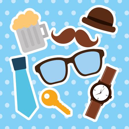 pères heureux collection de verres lunettes de moustache chapeau de bière verres de fête illustration vectorielle