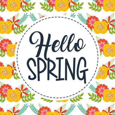 flower decoration pattern badge decoration hello spring vector illustration 스톡 콘텐츠 - 97156961