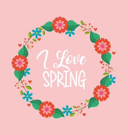 flower decoration wreath love spring vector illustration