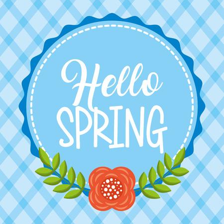 hello spring badge flower branches nature decoration blue background vector illustration Illusztráció
