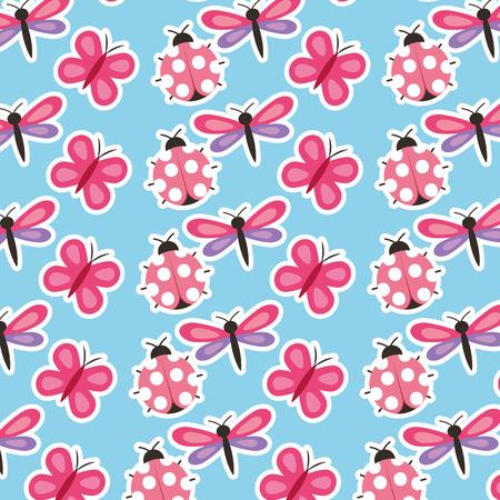 Mariposa de la mariposa de la primavera y la libélula natural ilustración vectorial patrón de temporada Foto de archivo - 97156980