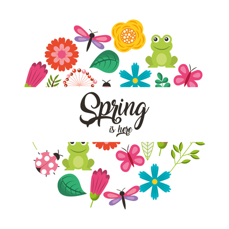 spring is here collection frog flower butterfly ladybug vector illustration