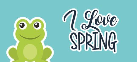 love spring cute frog animal cartoon card vector illustration