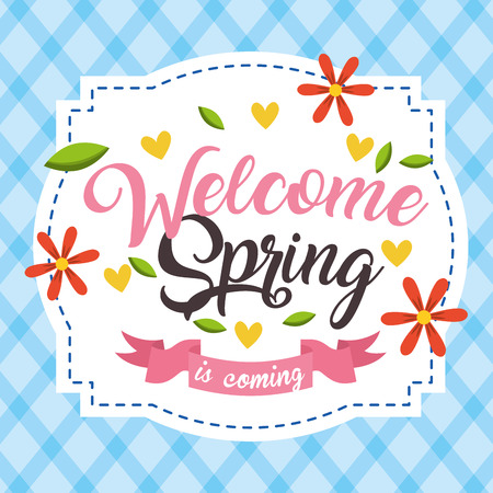 welcome spring is coming delicate flowers romantic label vector illustration