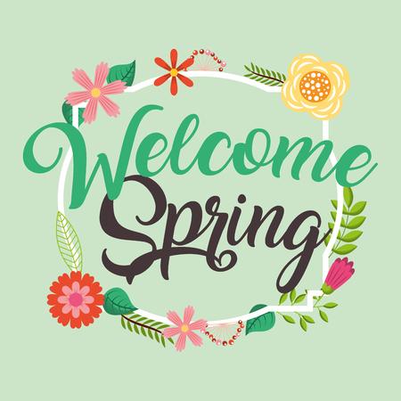 ようこそ春の花装飾ポスターベクターイラスト