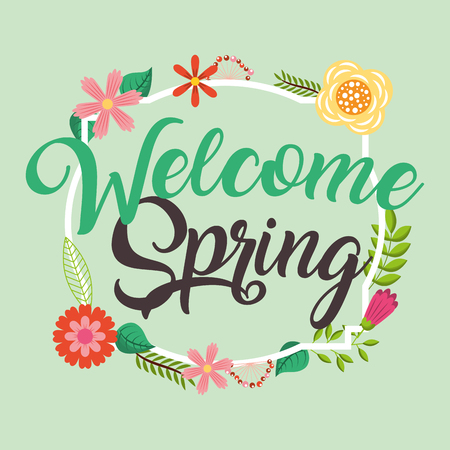welcome spring flowers ornament decorative poster vector illustration