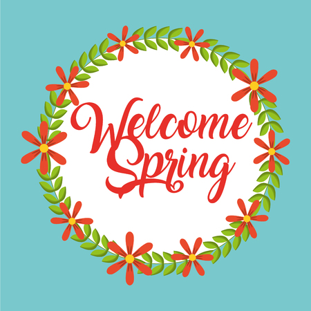 welcome spring card season decorative wreath flowers vector illustration Stock Illustratie