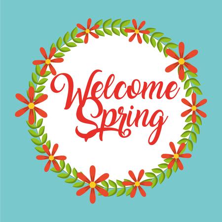 welcome spring card season decorative wreath flowers vector illustration Stock Illustratie