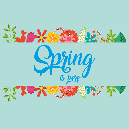 spring is here note decoration vector illustration  イラスト・ベクター素材