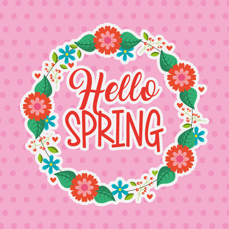 flower decoration wreath hello spring pink dots background vector illustration Illustration