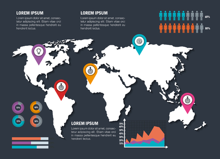 world planet with business infographic template icons vector illustration design