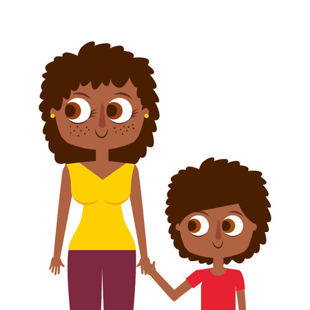 happy mother and her son cartoon portrait vector illustration Foto de archivo - 97180404