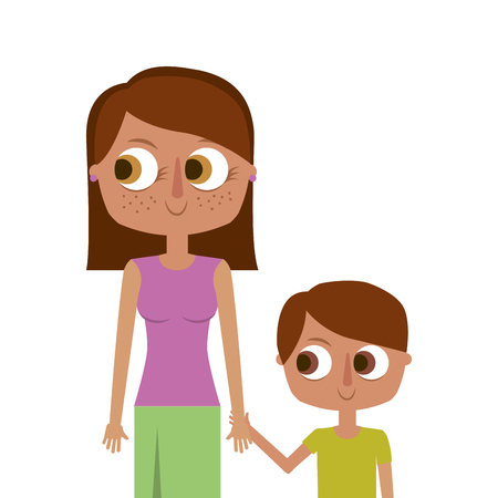 happy mother and her son cartoon portrait vector illustration