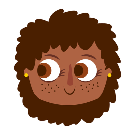 beautiful young teenager happy face girl smiling vector illustration