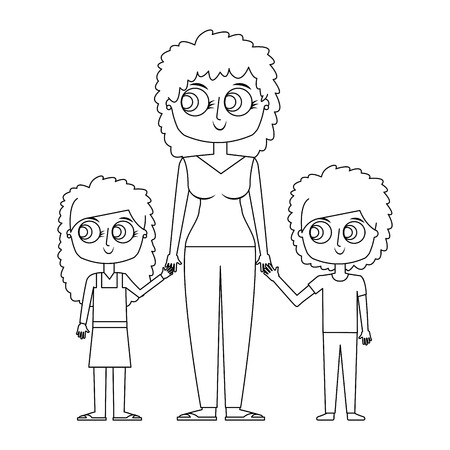 mother and her kids together holding hands vector illustration thin line Illustration