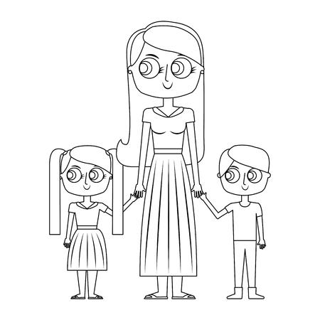 mother and her kids together holding hands vector illustration thin line Illusztráció