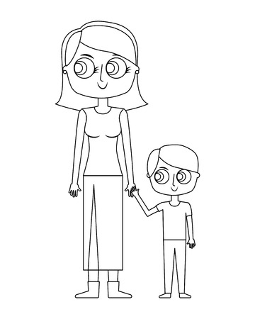 happy mother and her son cartoon vector illustration thin line