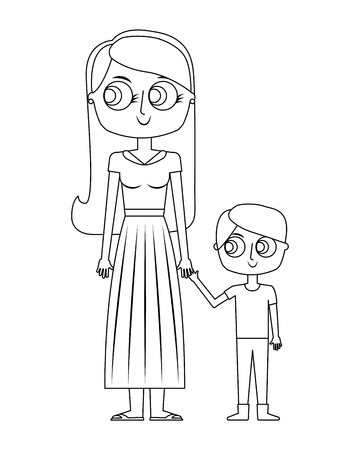 happy mother and her son cartoon vector illustration thin line Reklamní fotografie - 97196913