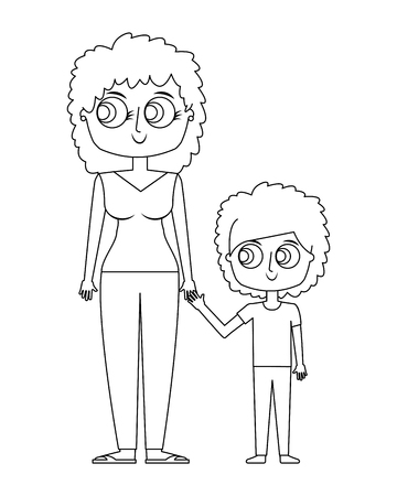 happy mother and her son cartoon vector illustration thin line Stock fotó - 97180776