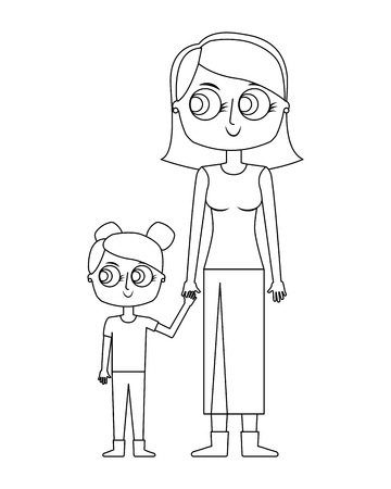 mother holding hand with her daughter vector illustration thin line Illusztráció