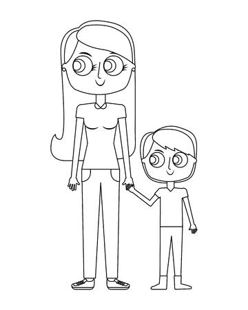 幸せな母と彼女の息子漫画ベクトルイラスト細い線