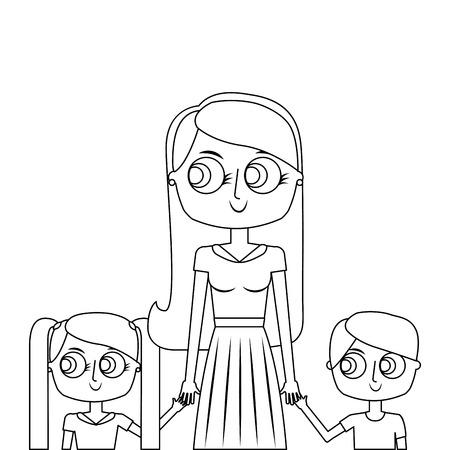 mother and her kids together holding hands portrait vector illustration thin line Illustration