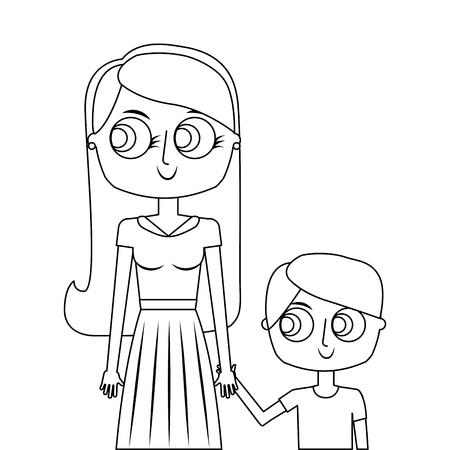Heureuse mère et son fils dessin animé illustration vectorielle mince ligne Banque d'images - 97197656