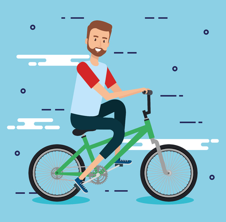 young man with bicycle vector illustration design Reklamní fotografie - 97281751