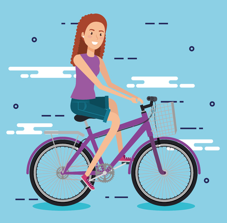 Young woman with bicycle vector illustration design