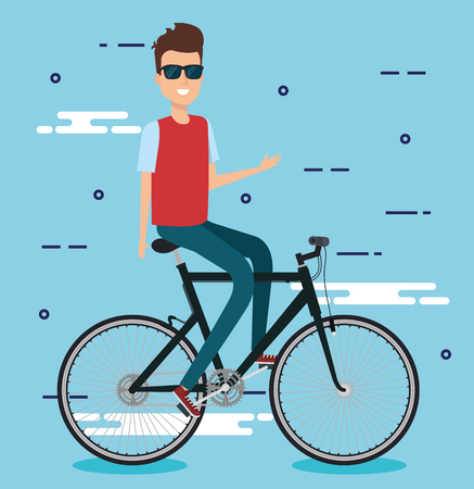 young man with bicycle vector illustration design