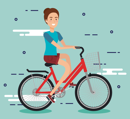 young woman with bicycle vector illustration design Illustration