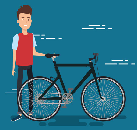 Young man with bicycle vector illustration design Illustration