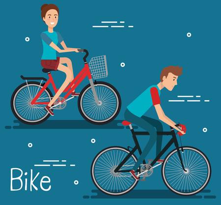 自転車ベクトルイラストデザインの若者