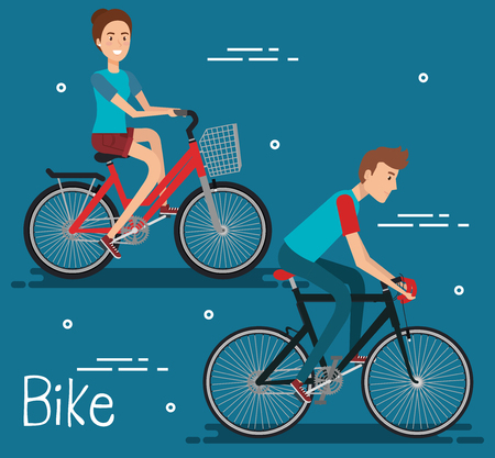 Young people with bicycle vector illustration design