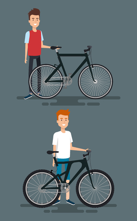 Young men with bicycle vector illustration design Ilustrace