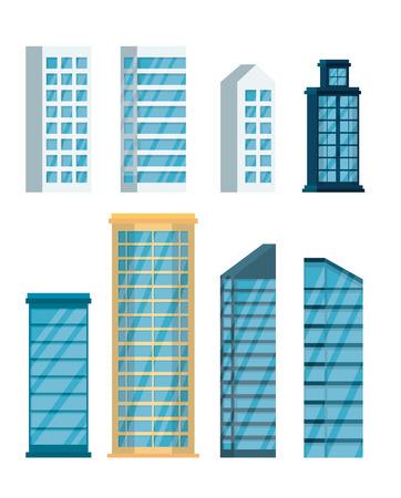set buildings cityscape icons vector illustration design