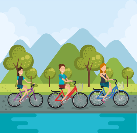 young women with bicycle vector illustration design
