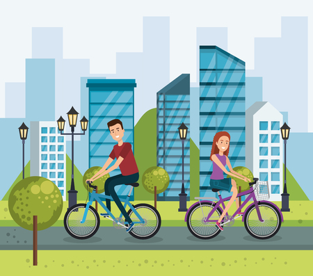 young people with bicycle in the park vector illustration design