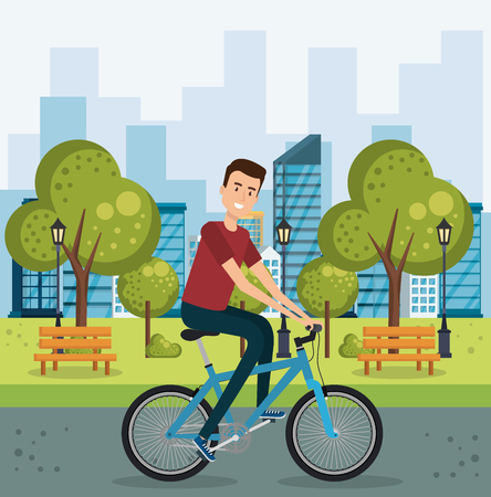 Young man with bicycle in the park vector illustration design