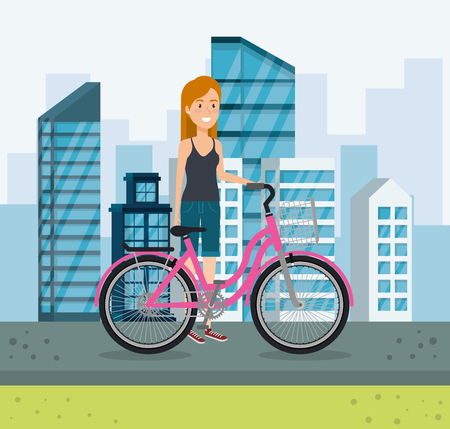 young woman with bicycle in the park vector illustration design Reklamní fotografie - 97281779