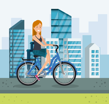 young woman with bicycle in the park vector illustration design