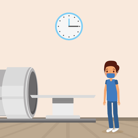 medical doctor with mri machine and clock in wall vector illustration Ilustracja