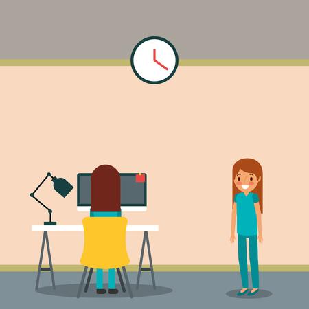 nurses in office work medical cartoon vector illustration