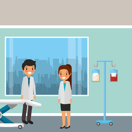 medical staff professional in office with iv stand and stretcher and window cartoon vector illustration Stock Illustratie